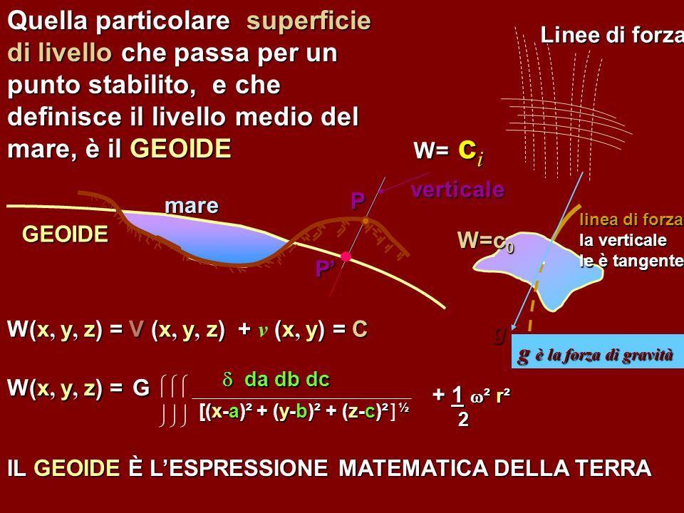 Quella particolare superficie di livello che passa per un punto stabilito, e che definisce il livello medio del mare, è il GEOIDE