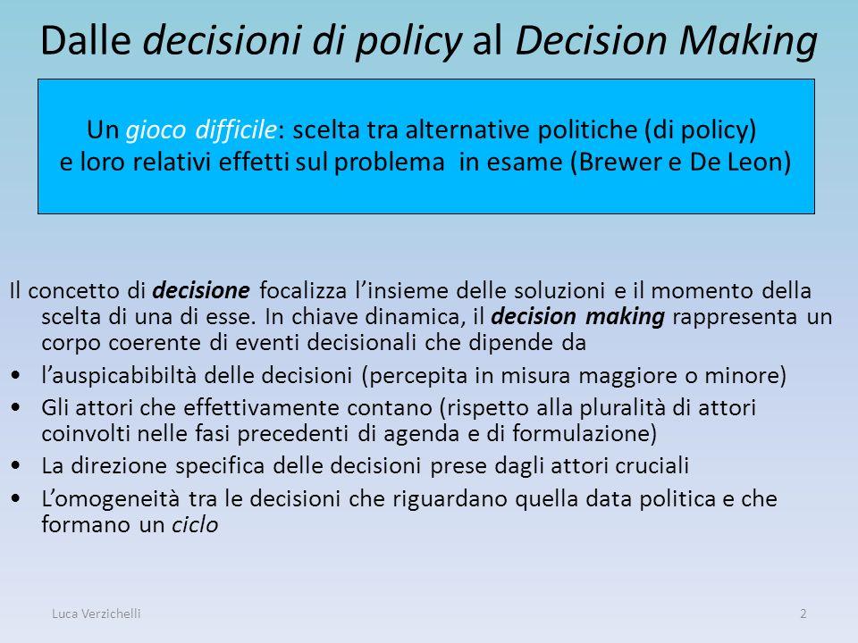 Dalle decisioni di policy al Decision Making