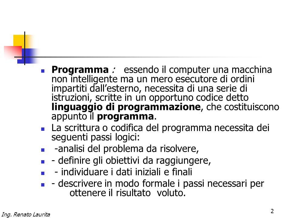 Programma : essendo il computer una macchina non intelligente ma un mero esecutore di ordini impartiti dall'esterno, necessita di una serie di istruzioni, scritte in un opportuno codice detto linguaggio di programmazione, che costituiscono appunto il programma.