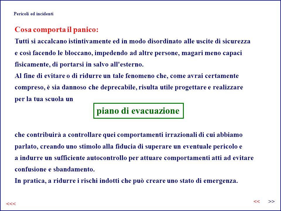 piano di evacuazione Cosa comporta il panico: