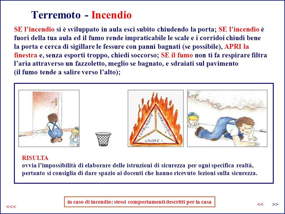 in caso di incendio: stessi comportamenti descritti per la casa