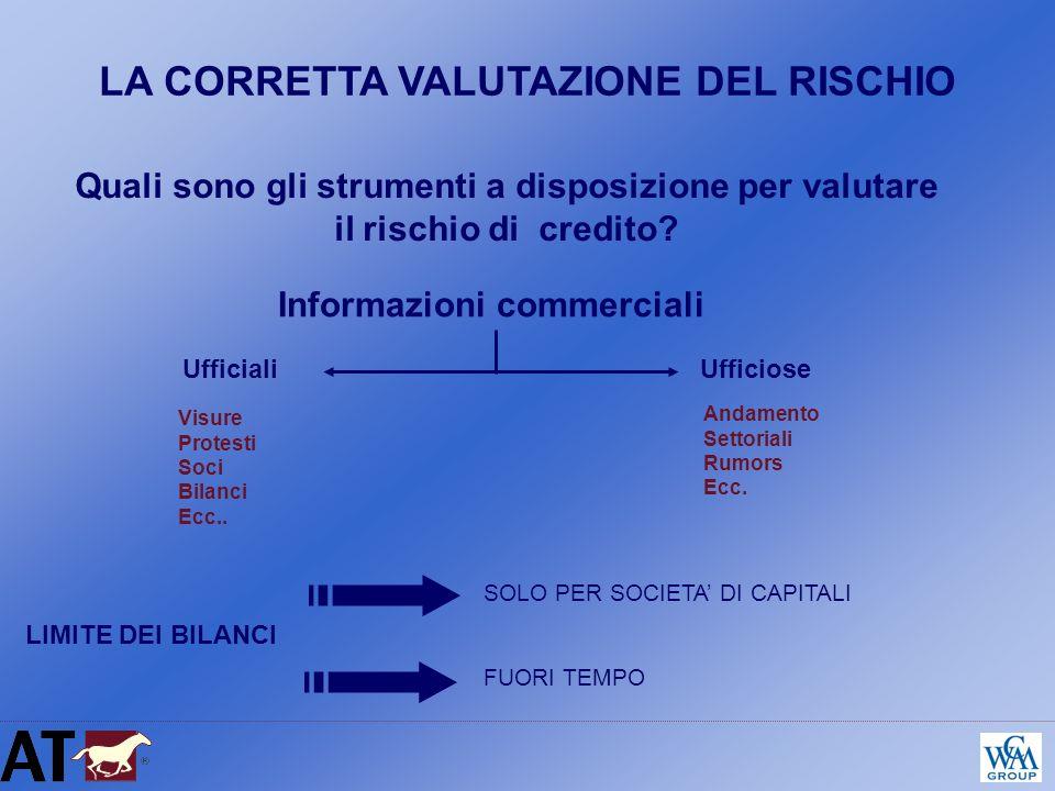 LA CORRETTA VALUTAZIONE DEL RISCHIO Informazioni commerciali