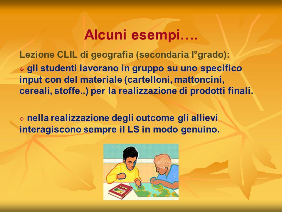 Alcuni esempi…. Lezione CLIL di geografia (secondaria I°grado):