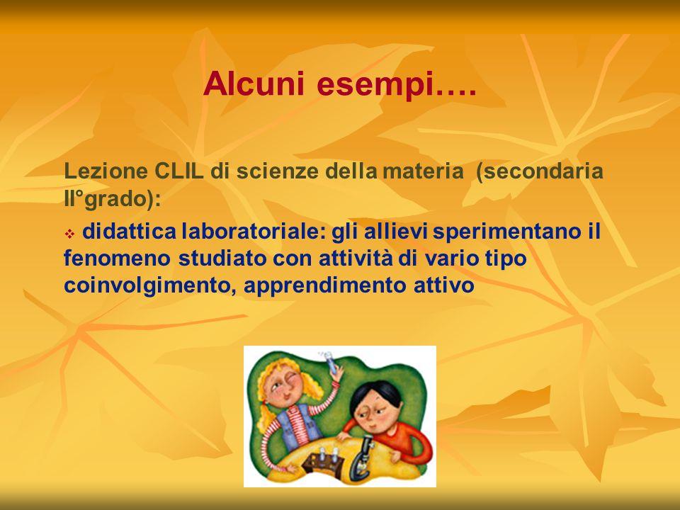 Alcuni esempi…. Lezione CLIL di scienze della materia (secondaria II°grado):