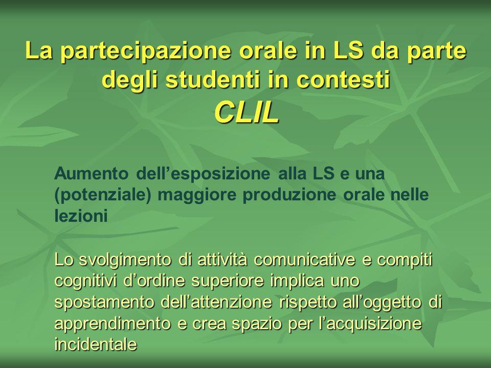 La partecipazione orale in LS da parte degli studenti in contesti CLIL