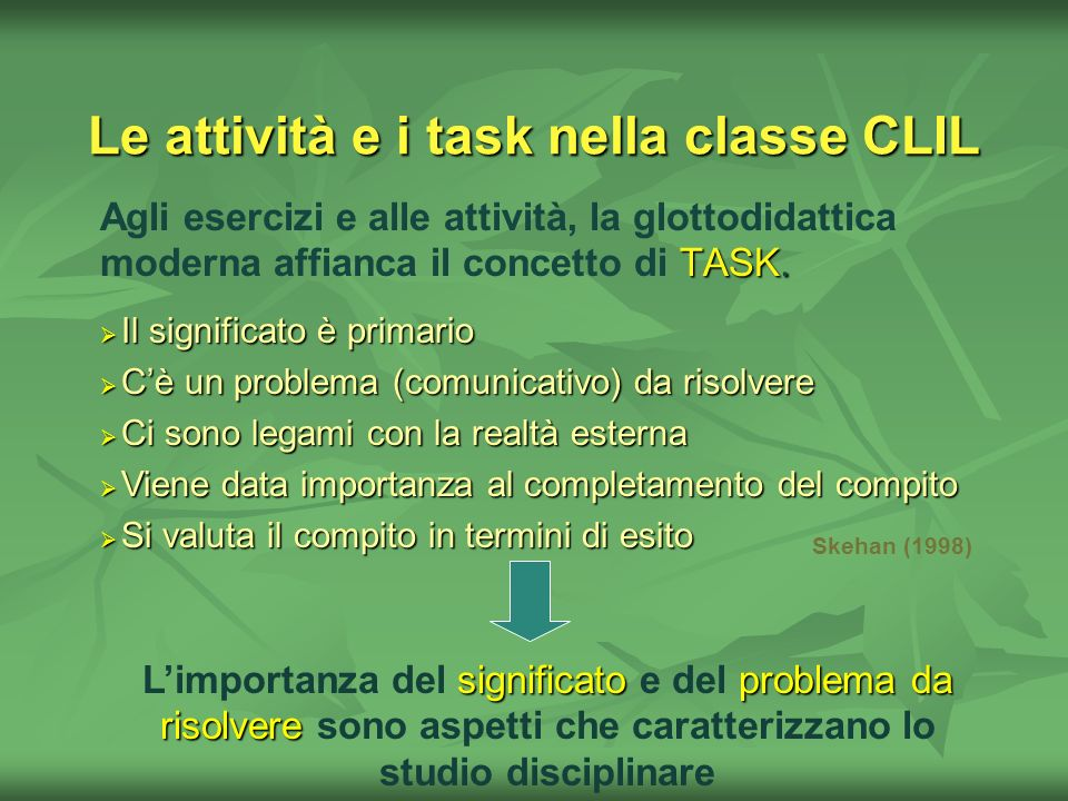 Le attività e i task nella classe CLIL