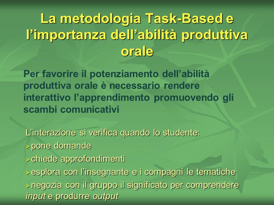 La metodologia Task-Based e l'importanza dell'abilità produttiva orale