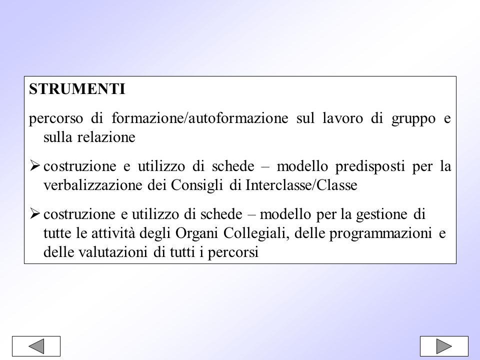 STRUMENTIpercorso di formazione/autoformazione sul lavoro di gruppo e sulla relazione.