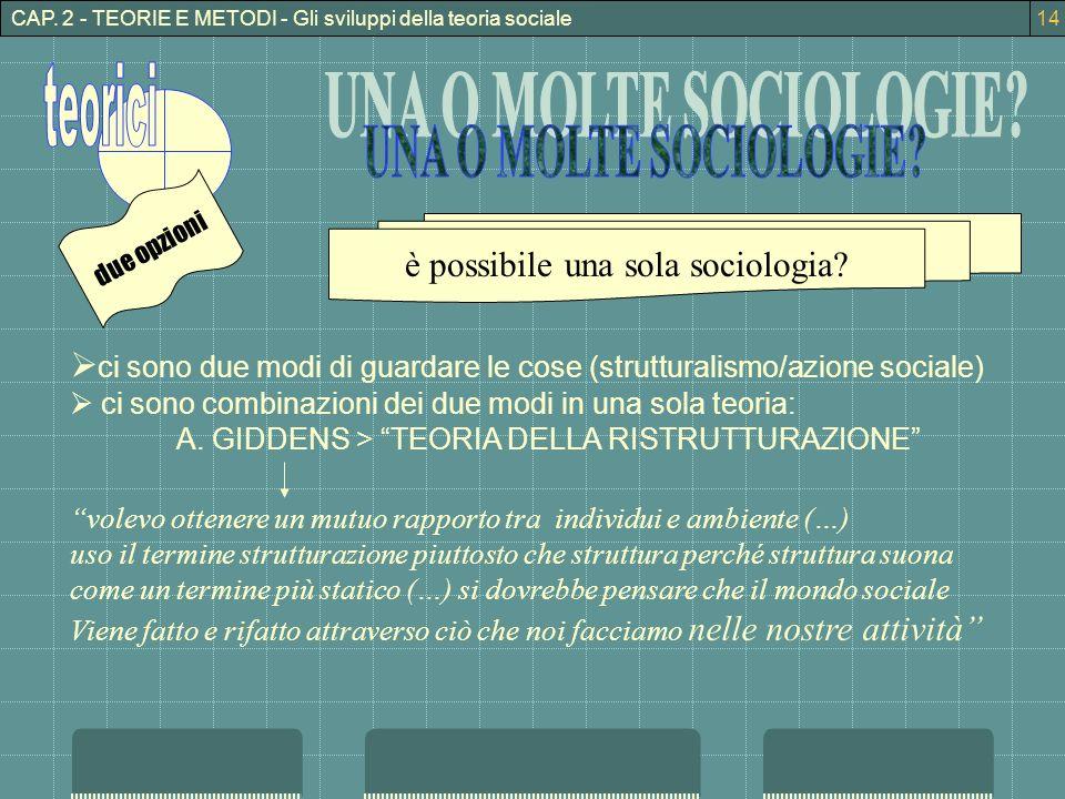 è possibile una sola sociologia