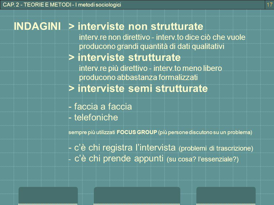 INDAGINI > interviste non strutturate > interviste strutturate
