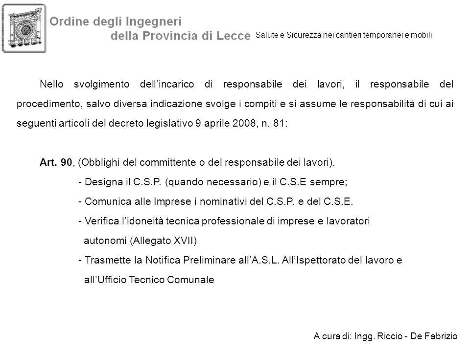 Art. 90, (Obblighi del committente o del responsabile dei lavori).