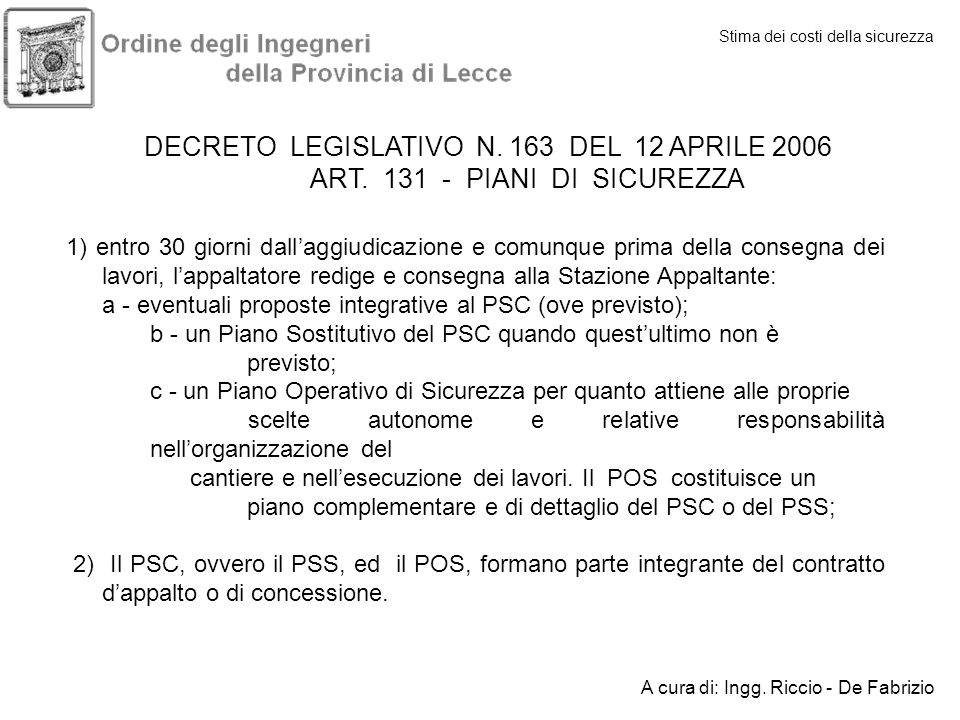 DECRETO LEGISLATIVO N. 163 DEL 12 APRILE 2006