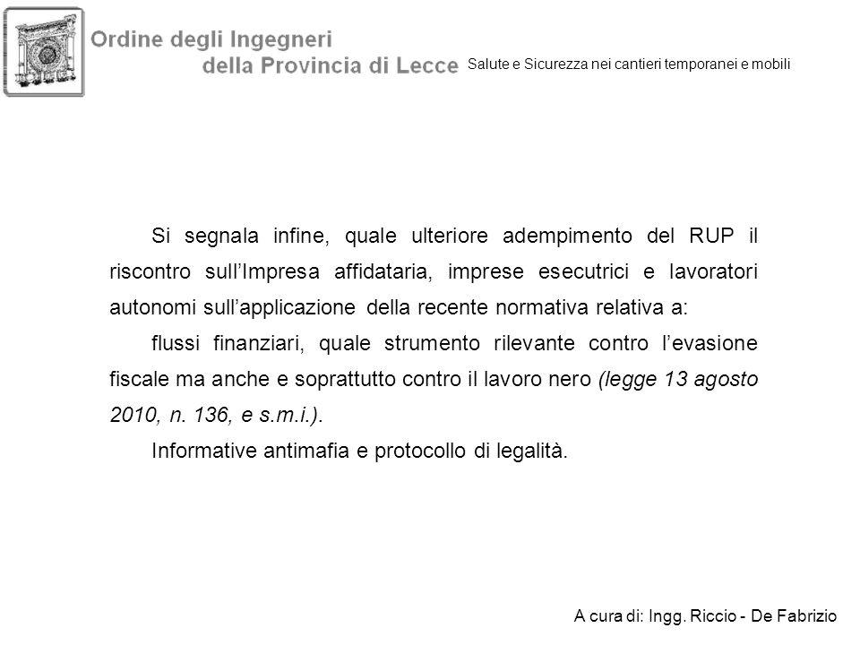 Informative antimafia e protocollo di legalità.