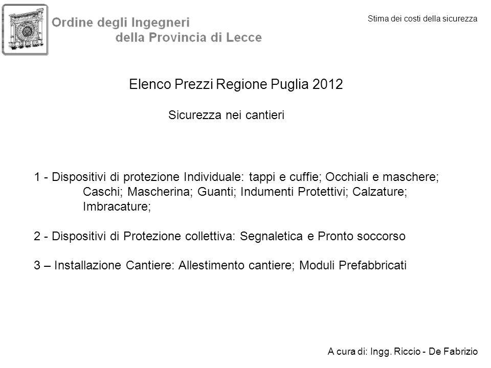 Elenco Prezzi Regione Puglia 2012