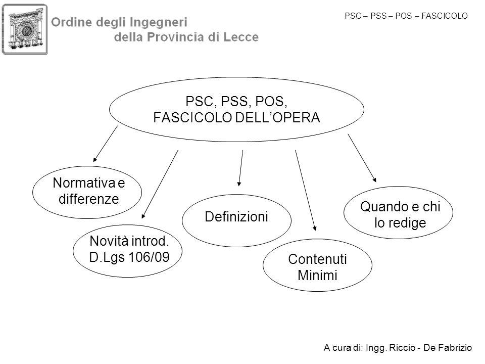 PSC, PSS, POS, FASCICOLO DELL'OPERA