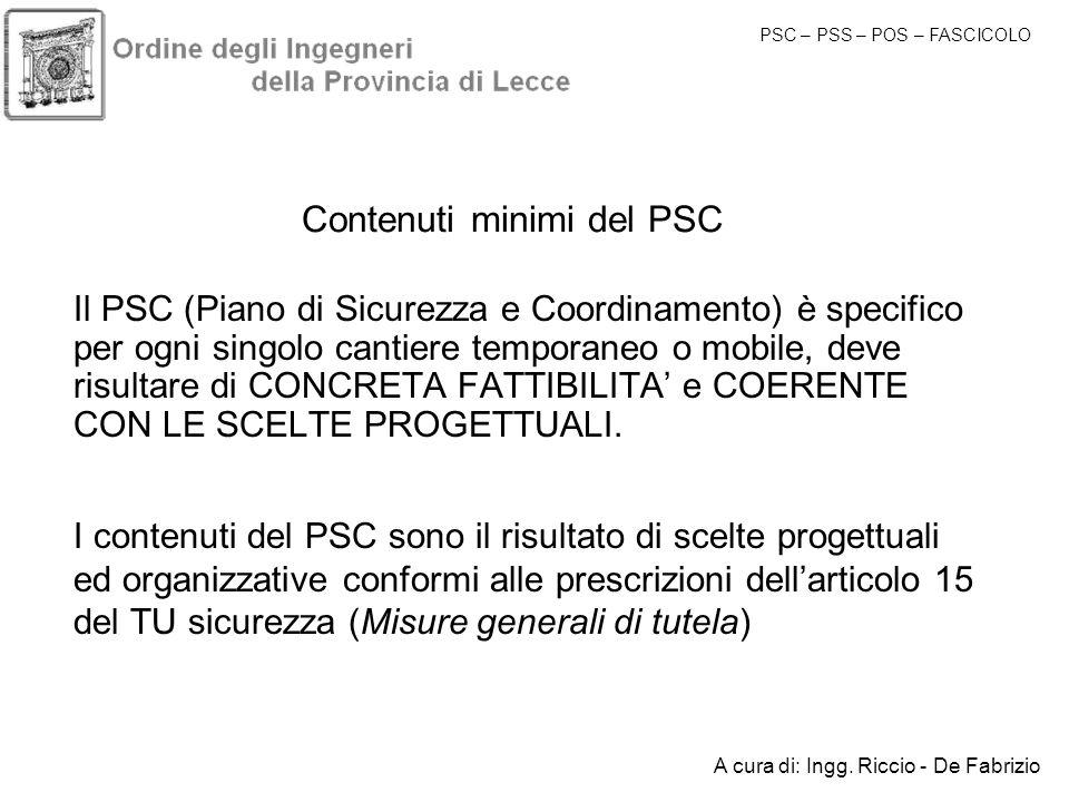 Contenuti minimi del PSC