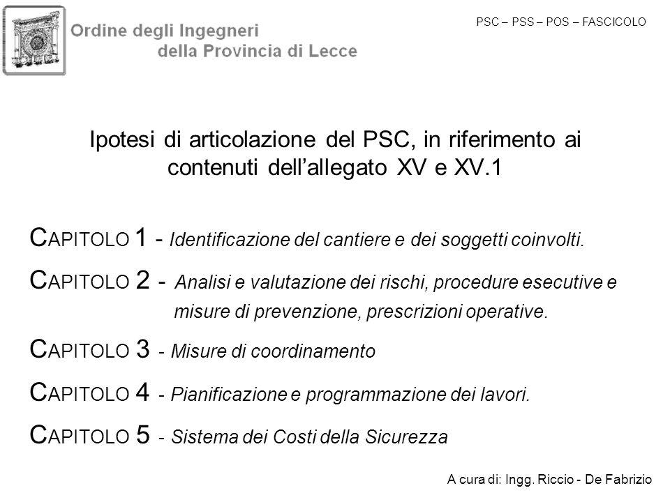 CAPITOLO 1 - Identificazione del cantiere e dei soggetti coinvolti.