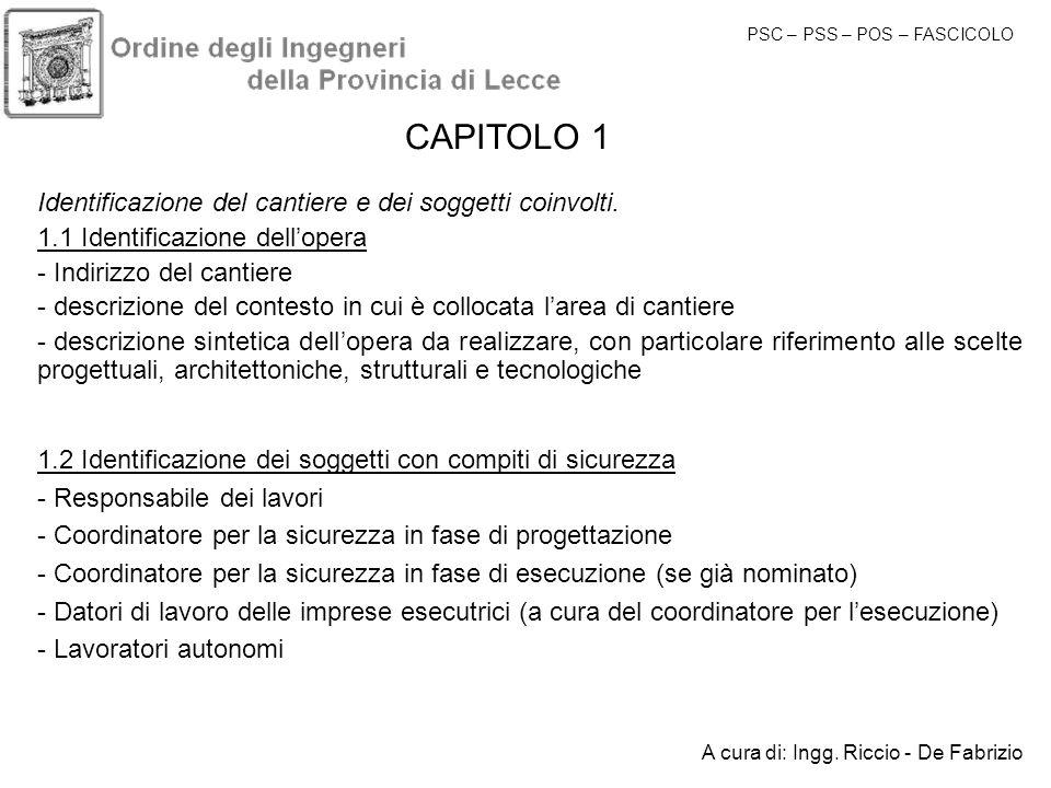 CAPITOLO 1 Identificazione del cantiere e dei soggetti coinvolti.