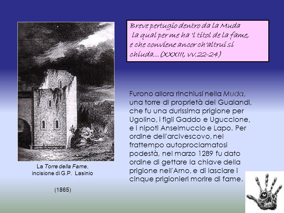 La Torre della Fame, incisione di G.P. Lasinio (1865)