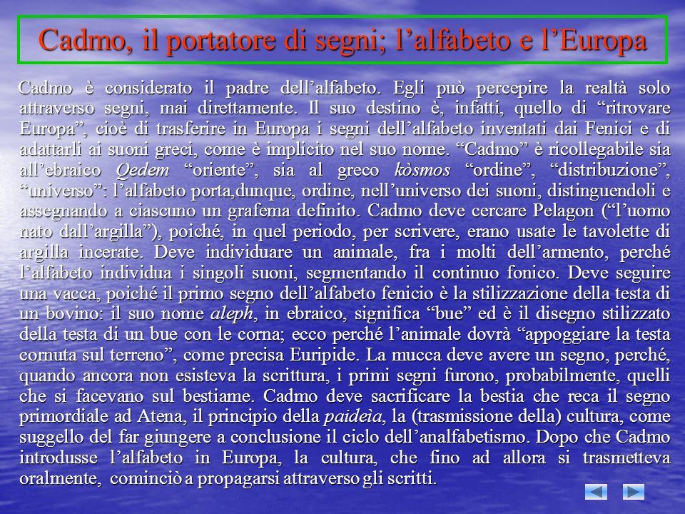 Cadmo, il portatore di segni; l'alfabeto e l'Europa