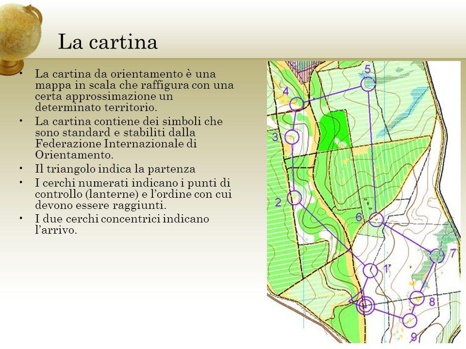 La cartina La cartina da orientamento è una mappa in scala che raffigura con una certa approssimazione un determinato territorio.