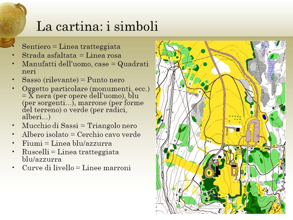La cartina: i simboli Sentiero = Linea tratteggiata