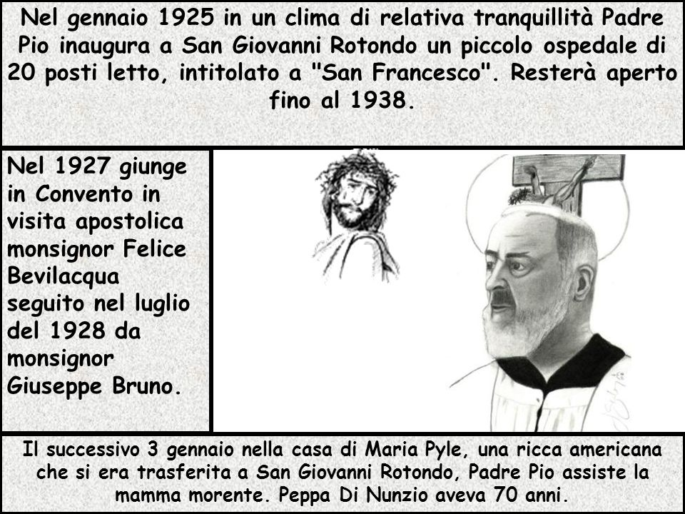 Il successivo 3 gennaio nella casa di Maria Pyle, una ricca americana che si era trasferita a San Giovanni Rotondo, Padre Pio assiste la mamma morente. Peppa Di Nunzio aveva 70 anni.