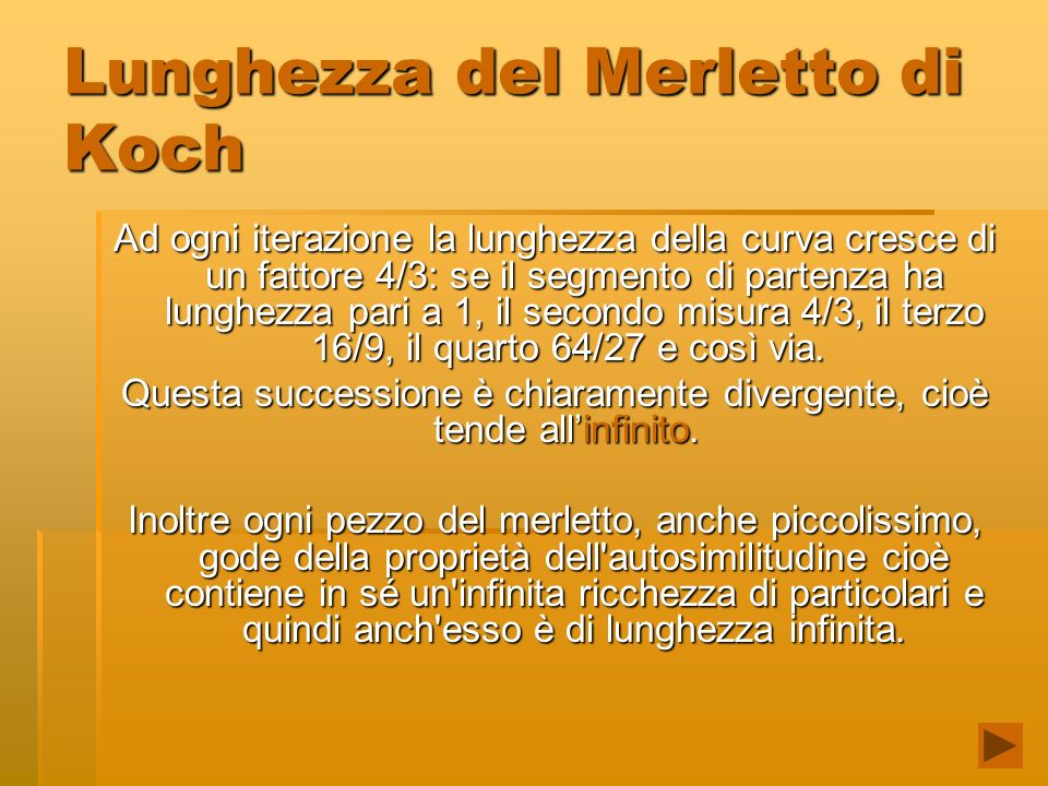 Lunghezza del Merletto di Koch