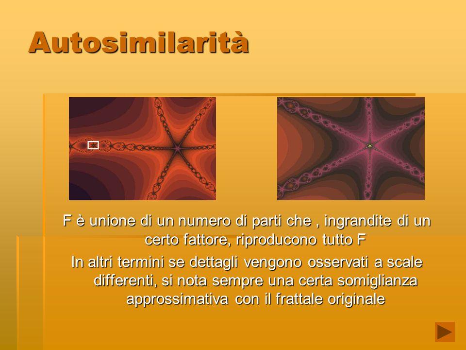 Autosimilarità F è unione di un numero di parti che , ingrandite di un certo fattore, riproducono tutto F.