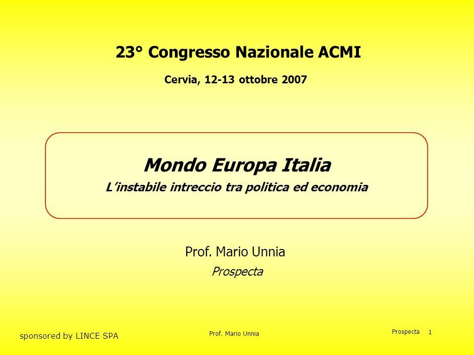 Mondo Europa Italia 23° Congresso Nazionale ACMI Prof. Mario Unnia