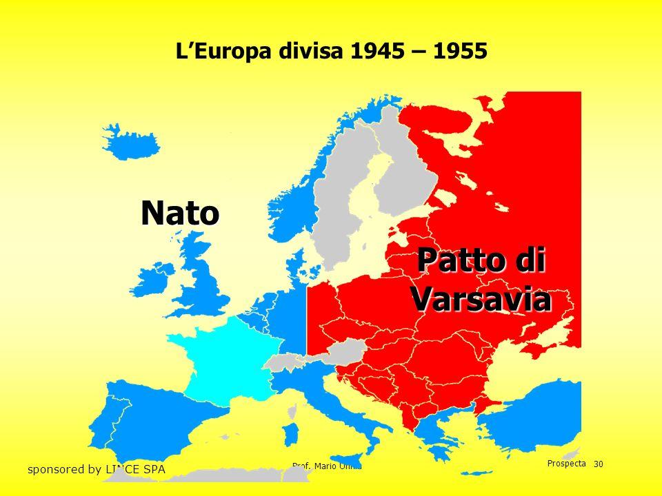 L'Europa divisa 1945 – 1955 Nato Patto di Varsavia