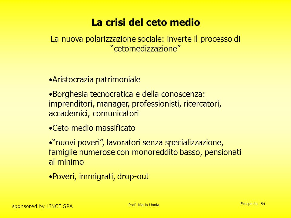 La crisi del ceto medio La nuova polarizzazione sociale: inverte il processo di cetomedizzazione Aristocrazia patrimoniale.