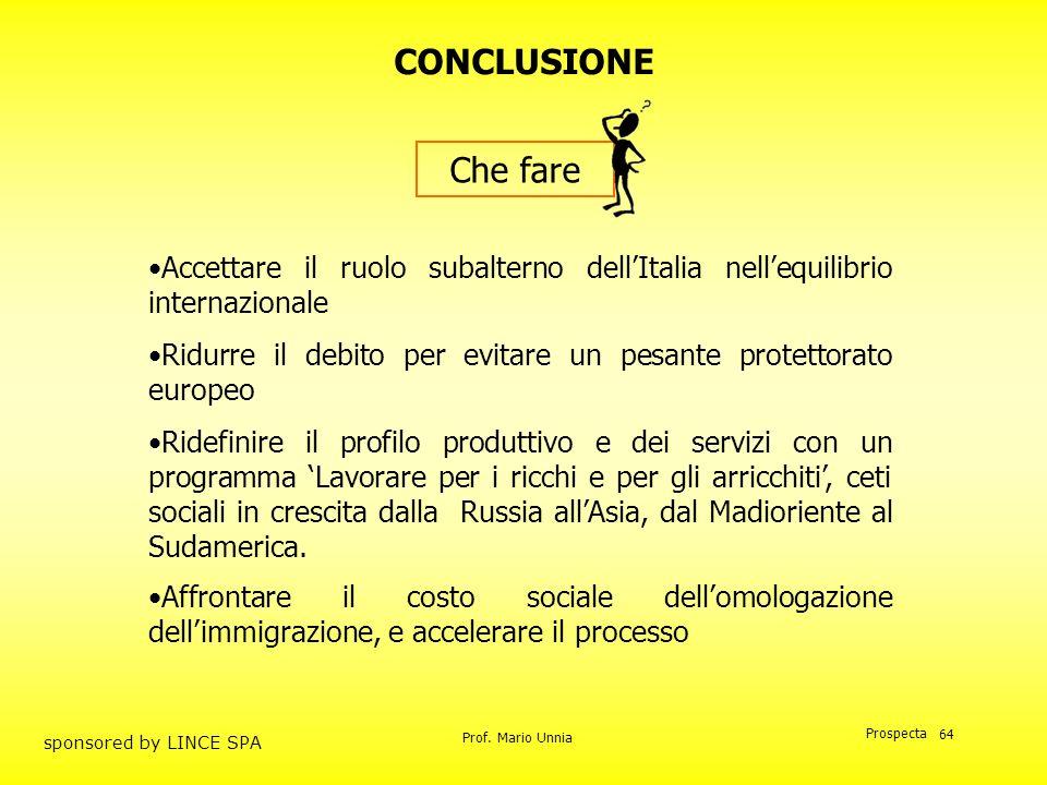 CONCLUSIONE Che fare. Accettare il ruolo subalterno dell'Italia nell'equilibrio internazionale.