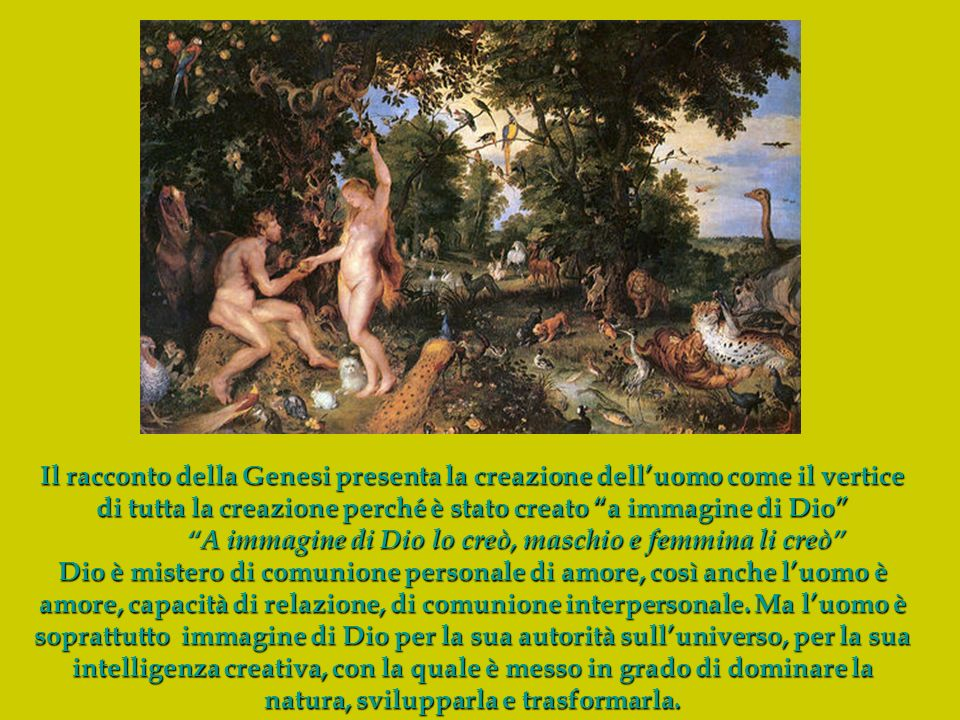 A immagine di Dio lo creò, maschio e femmina li creò