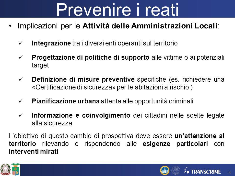 Prevenire i reati Implicazioni per le Attività delle Amministrazioni Locali: Integrazione tra i diversi enti operanti sul territorio.