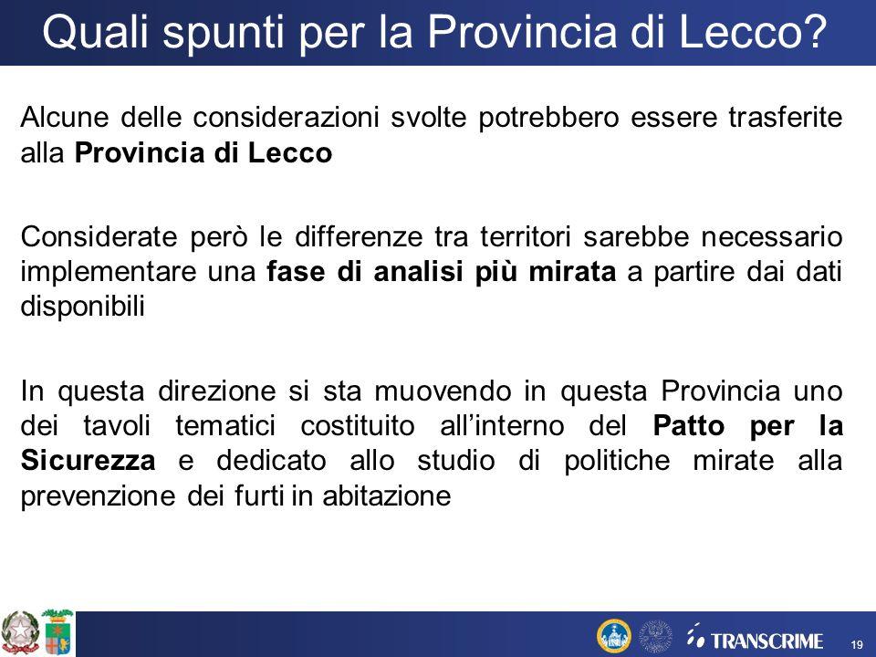 Quali spunti per la Provincia di Lecco