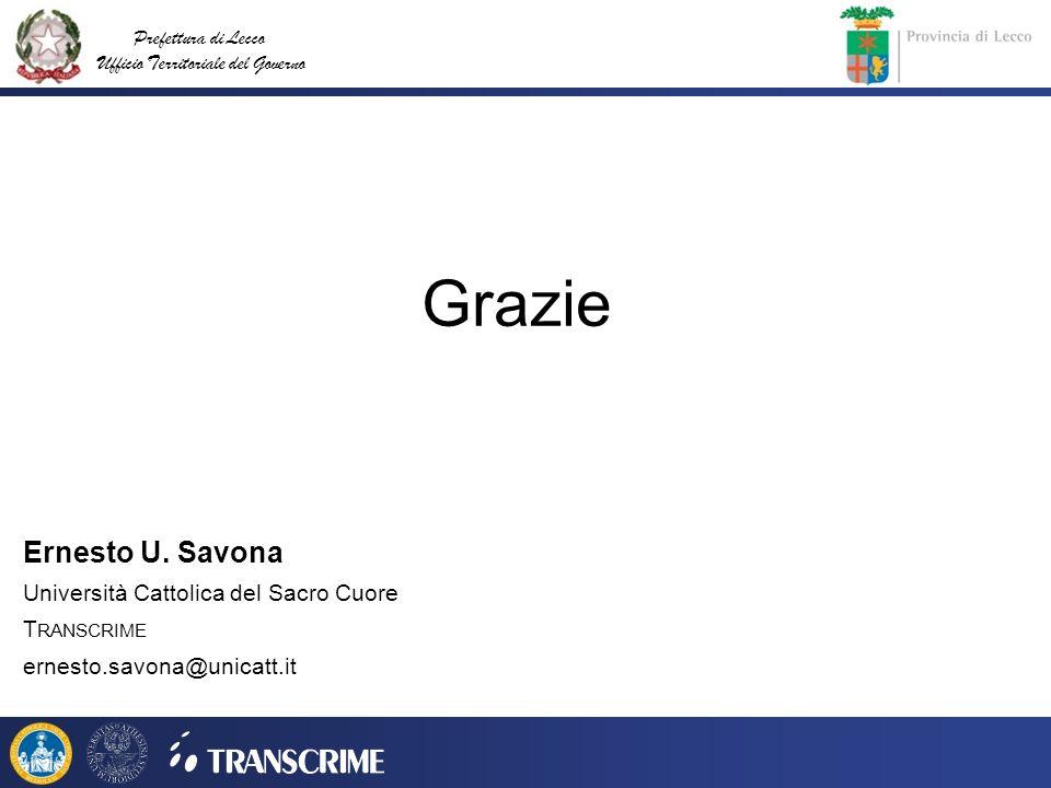 Grazie Ernesto U. Savona Università Cattolica del Sacro Cuore
