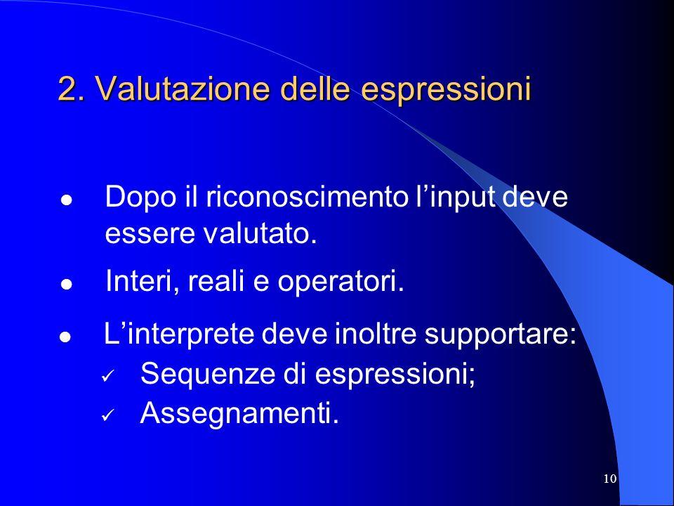 2. Valutazione delle espressioni