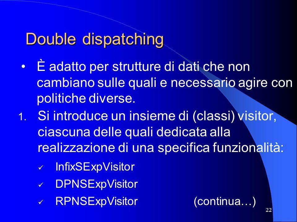 Double dispatching È adatto per strutture di dati che non cambiano sulle quali e necessario agire con politiche diverse.