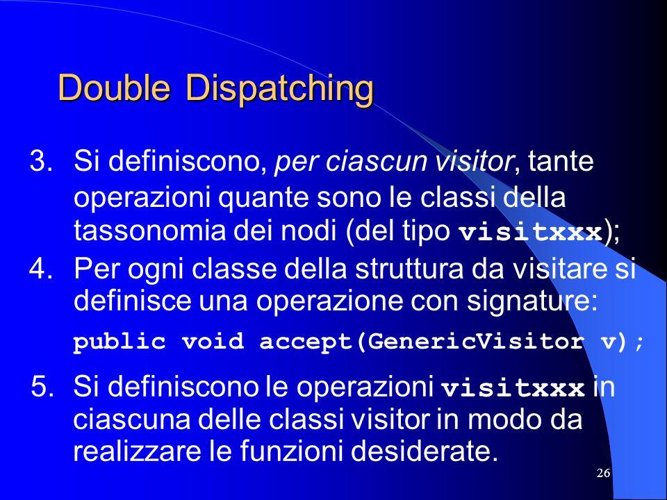 Double Dispatching Si definiscono, per ciascun visitor, tante operazioni quante sono le classi della tassonomia dei nodi (del tipo visitxxx);