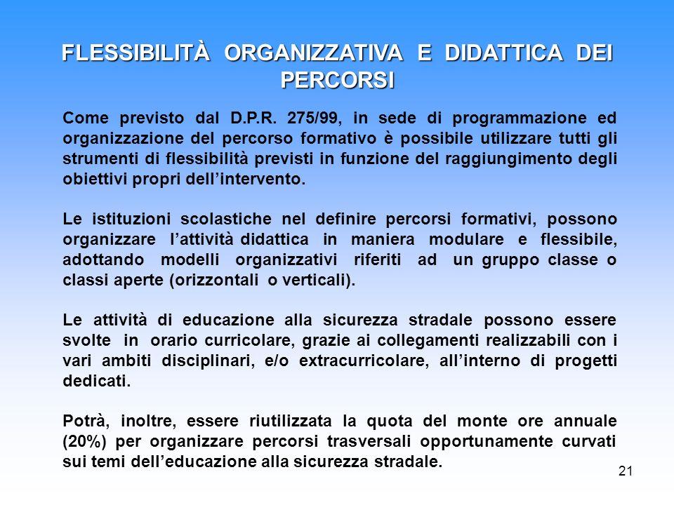 FLESSIBILITÀ ORGANIZZATIVA E DIDATTICA DEI PERCORSI