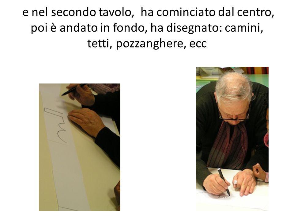 e nel secondo tavolo, ha cominciato dal centro, poi è andato in fondo, ha disegnato: camini, tetti, pozzanghere, ecc