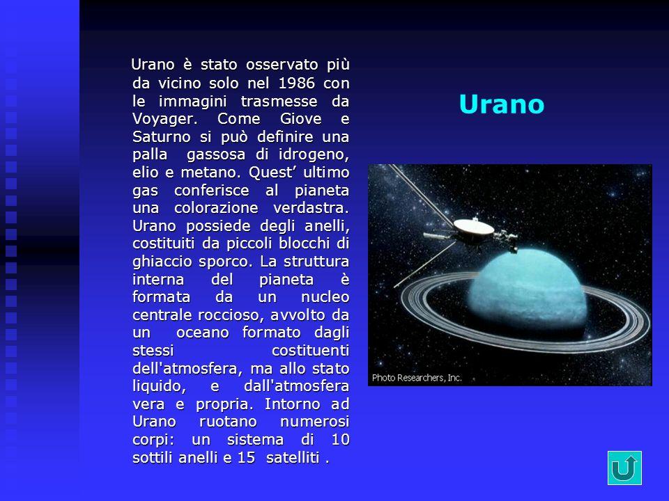 Urano è stato osservato più da vicino solo nel 1986 con le immagini trasmesse da Voyager. Come Giove e Saturno si può definire una palla gassosa di idrogeno, elio e metano. Quest' ultimo gas conferisce al pianeta una colorazione verdastra. Urano possiede degli anelli, costituiti da piccoli blocchi di ghiaccio sporco. La struttura interna del pianeta è formata da un nucleo centrale roccioso, avvolto da un oceano formato dagli stessi costituenti dell atmosfera, ma allo stato liquido, e dall atmosfera vera e propria. Intorno ad Urano ruotano numerosi corpi: un sistema di 10 sottili anelli e 15 satelliti .