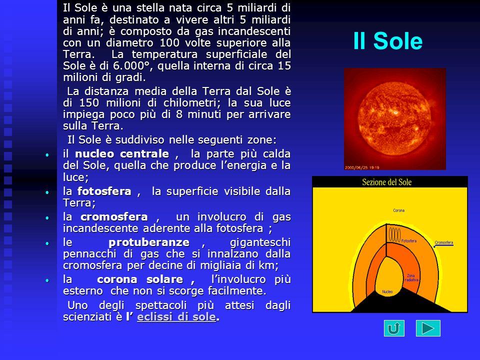 Il Sole è una stella nata circa 5 miliardi di anni fa, destinato a vivere altri 5 miliardi di anni; è composto da gas incandescenti con un diametro 100 volte superiore alla Terra. La temperatura superficiale del Sole è di 6.000°, quella interna di circa 15 milioni di gradi.