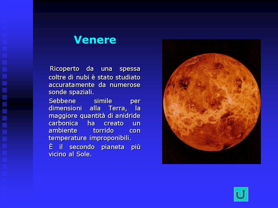 Venere Ricoperto da una spessa coltre di nubi è stato studiato accuratamente da numerose sonde spaziali.
