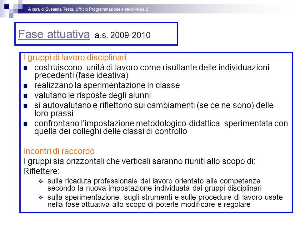 Fase attuativa a.s. 2009-2010 I gruppi di lavoro disciplinari