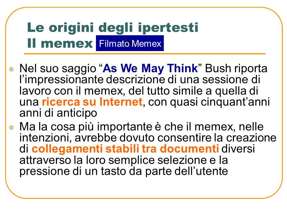 Le origini degli ipertesti Il memex