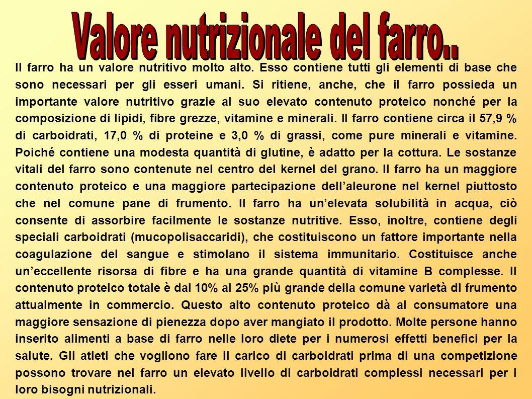 Valore nutrizionale del farro..