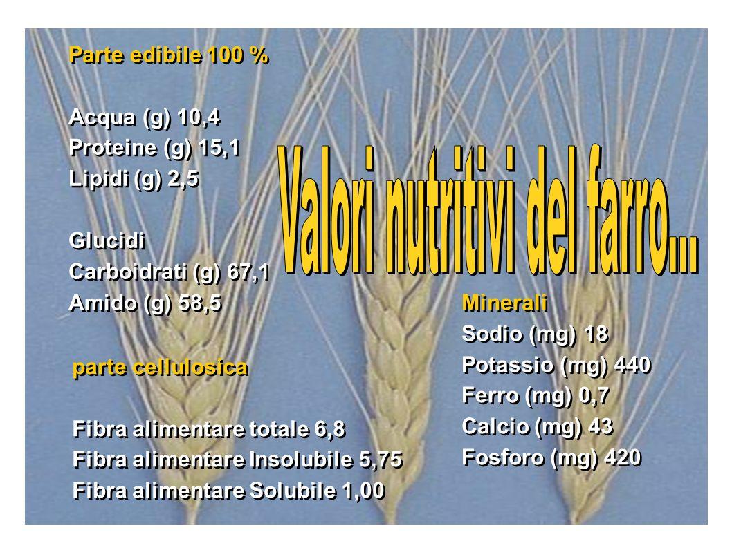 Valori nutritivi del farro...