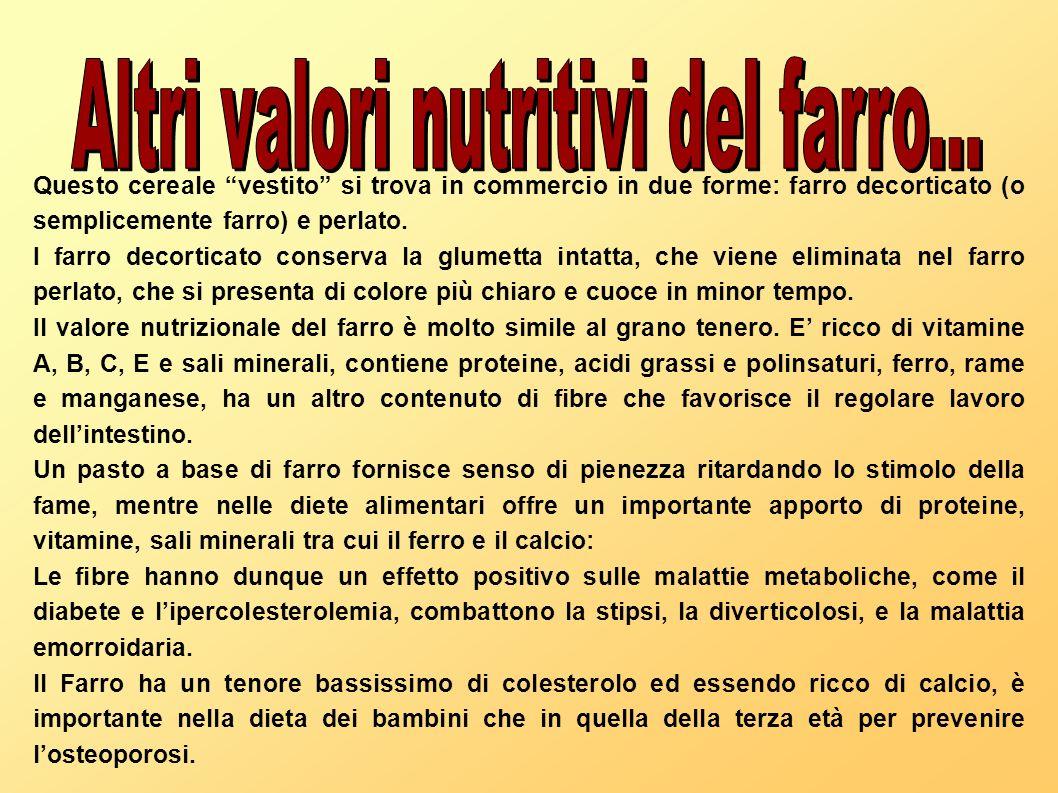 Altri valori nutritivi del farro...